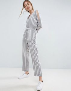 ASOS Jumpsuit in Twill with Cold Shoulder and Waist Detail in Stripe -