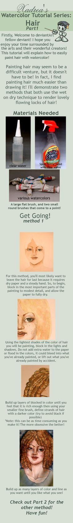 Watercolor Tutorial: Hair part 1 by =Xadrea on deviantART