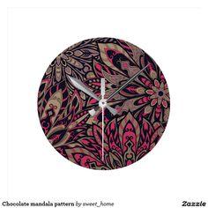 Chocolate mandala pattern round clock #Home #decor #Room #Interior #decorating #Idea #Styles #Traditional #Boho #Indian #Vintage #floral #motif