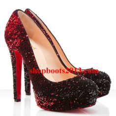Discount Christian Louboutin Bianca 140mm Paillette Pumps Red Louboutin Pumps, Christian Louboutin, Discount Boots, Cl Shoes, Booty, Heels, Red, Beautiful, Fashion