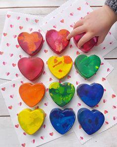 DIY Recycled Heart Crayons. - DomestikatedLife Dark Chocolate Brownies, Diy Recycle, Recycling, Recycled Crayons, Crayon Heart, Broken Crayons, Melting Crayons