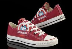 Limited Edition Red Captain America Converse Low Tops Canvas Shoes 8bb666b2a1