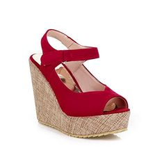 WeiPoot Womens Frosted Hookandloop Peep Toe HighHeels Solid Platforms  Wedges Red 39 -- Continue to the product at the image link.