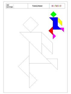 www.okuloncesihersey.net serbest-zaman-etkinlikleri-cocuklar-icin-tangram.html Fun Worksheets For Kids, Math For Kids, Math Worksheets, Tracing Shapes, Tangram Puzzles, Autism Activities, Diy Home Crafts, Art Classroom, Elementary Art