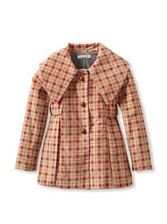 Blu Pony Vintage Kid's Corduroy Coat With Wooden Buttons (Red Plaid)