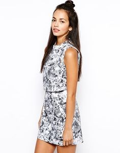 Lavish Alice Cropped Mini Dress in Mono Floral