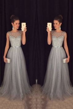 Prom Dresses For Teens, New Arrival Beading Prom Dresses,Charming Gray Evening Dresses,A-line Modest Prom Gowns,Long Prom Gowns Dresses Modest Grey Evening Dresses, Grey Prom Dress, Evening Dresses For Weddings, Beaded Prom Dress, Dress Long, Dress Formal, Beaded Top, Formal Gowns, Lace Dress