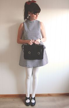 American Apparel Red Bow, Sheinside Houndstooth Dress, Georg Martinsen Black Satchel, Zara Pantihose, Hush Puppies Shoes