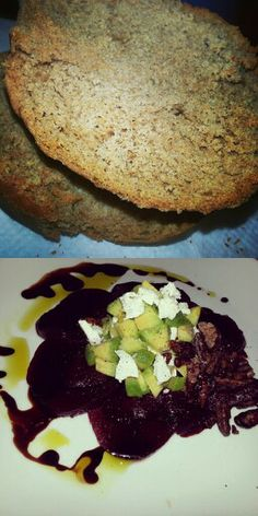 Toasted homemade whole grain bread. Beets, goat cheese, avocado, and candied pecans dressed in a raspberry vinaigrette reduction and avocado oil.