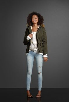 Destroyed super skinny jeans and a skinny belt cozy up a soft shine sweater. Stay warm in a sherpa lined jacket with rich faux-fur trim. | Abercrombie.com