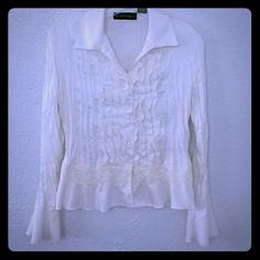 Romantic ruffle lace work shirt in cream sz S New York City Designs Seperates. Sz small in good condition. Cream color made of 100% polyester. new york city designs Tops Blouses