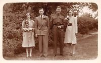 Vintage REAL PHOTO Postcard c1940's WW2 Uniform Fashion Wedding