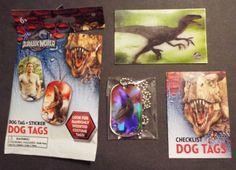 Jurassic World Park Foil Dog Tag #39 Velociraptor Lenticular Sticker #15 Raptor