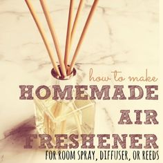Make your own homemade air freshener using simple, natural ingredients. Save money while reducing indoor air-pollution. Plus, you can pick your own scent! Homemade Air Freshener, Natural Air Freshener, Homemade Deodorant, Cleaners Homemade, Homemade Cleaning Products, Natural Cleaning Products, Natural Products, Beauty Products, Homemade Diffuser