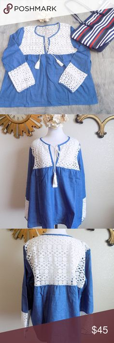 Plus Size Soft Denim Blouse New in the package.  65% Cotton, 35% Polyester Lace design on the sleeves, chest and upper back. V neck at the front 6.5 inches. Soft denim swing top. Relax loose fit.  Approximate Measurement (laying flat):  Bust 23, L 25, Sleeves 25 Armhole 9, Arm width 7  Please measure before buying. Thanks! Tops Blouses