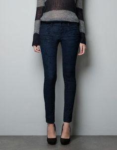 Zara Flocked Printed Jeans