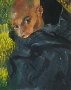Rainer Fetting - Desmond with hood (Zoran), Oil on canvas, 100 x 80 cm. //at Egbert Baqué Contemporary Art, Berlin: Take A Walk On The Wild Side. To Russia with Love. And to Lou Reed. Rainer Fetting, Oil On Canvas, Berlin, Contemporary Art, Watercolor, Portrait, Gallery, Artist, Russia