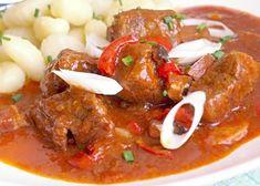 Hovězí krk na pivu a zeleninová směs Modern Food, Chana Masala, Stew, Chili, Vegetarian, Meat, Ethnic Recipes, One Pot, Chilis