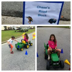 The kids created a road block using cones for Chase's Paw Patrol station.