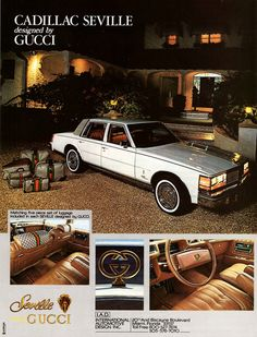 Ultimate Fashionista-mobile! Vintage 1979 Cadillac Seville Designed By Gucci. P.S. A car with matching luggage!!! TDF!