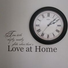 lds hymn 'love at home' lyrics in vinyl paired with a clock
