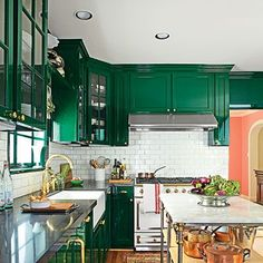Dark Green Kitchen Cabinets 13 celebrities who know how to use color | copper kitchen, cameron