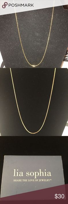 Lia Sophia Gold 16-19in Adjustable Necklace Brand new, never worn gold necklace. Adjustable chain so it can be 16-19 inches. Great necklace to add pendants or slides to. Original packaging. Pet free, smoke free home Lia Sophia Jewelry Necklaces