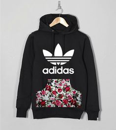 Www.stagandboneapparel.com Liverpool's all female led independent streetwear fashion brand that specialises in custom branded apparel. Floral vintage chic adidas trefoil originals authentic licensed hoodie. Hand customised.