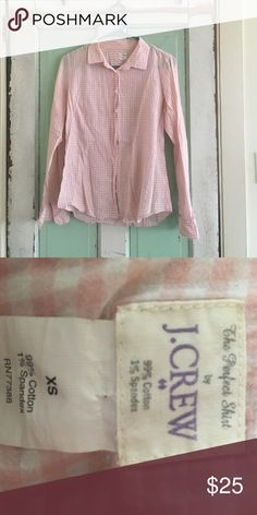 J.Crew baby pink and white check Perfect Shirt Perfect Fit baby pink and white check button down. Small almost not visible stain on right breast. Gently worn, extremely comfortable. J. Crew Tops Button Down Shirts