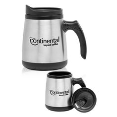 "16 oz. stainless steel Low Rider mug with spill resistant slide action lid and plastic inner liner. Product dimensions: 5.75"" H."