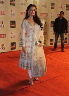 Dia Mirza in Designer Short Length White Silver Anarkali Suit by Ritu Kumar