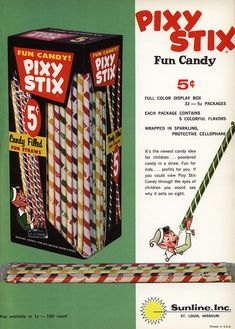 Sunline - Pixy Stix - trade ad - Candy Wholesaler magazine - April 1963 by JasonLiebig, via Flickr