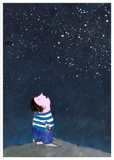 summer, night, sky, stars, trees.... by Marina on Etsy