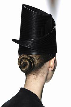 Creative Hat with curling 3D shape & subtle stitch detail - sculptural headpiece; wearable art
