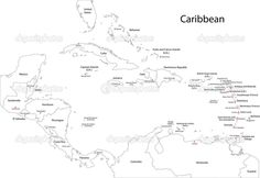Caribbean Map Black and White