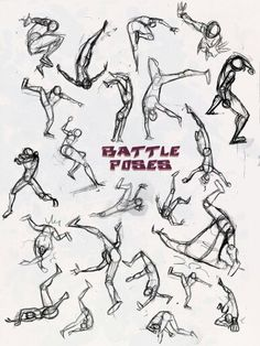 Action packed comic/anime/manga artists will appreciate this. Crazy ass battle poses to give that drawing a certain 'impact' to their work. Battle Poses- Kick and Punch Drawing Reference Poses, Drawing Poses, Drawing Sketches, Drawings, Sketching, Character Poses, Character Design References, Character Drawing, Fighting Poses