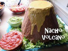 The Good Dinosaur Birthday Party! Easy and delicious nacho snack that looks like a volcano!