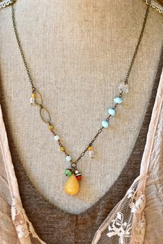 Janie. bohemian layered gemstone charm necklace. by tiedupmemories, $46.00