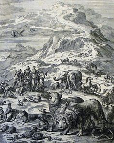 The Phillip Medhurst Picture Torah 62. Coming out of the Ark. Genesis cap 8 vv 18-19. Jan Luyken