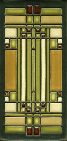"ArtsAndCraftsTile.com - Frank Lloyd Wright By Motawi Sky Light 4"" x 8"" Tile Brown, $54.00"