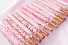 Pink and Blue Baby Shower - pink chocolate covered pretzels Breast Cancer Party, Breast Cancer Fundraiser, Fundraiser Food, Chocolate Covered Pretzel Rods, Pretzel Dip, Dipped Pretzels, Pretzel Sticks, Pretzel Treats, Pretzels Recipe