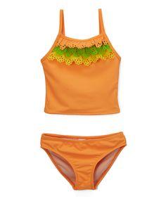 Orange & Green Ruffle Tankini - Toddler & Girls