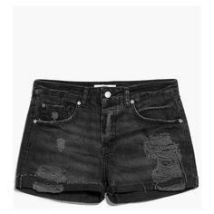 MANGO Dark Denim Shorts ($35) ❤ liked on Polyvore featuring shorts, embellished shorts, ripped shorts, destroyed jean shorts, destroyed shorts and torn shorts