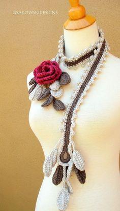 Wild Rose Scarf Lariat Rose nr 2 by gsakowskidesigns on Etsy Crochet Scarves, Crochet Shawl, Crochet Lace, Knitted Flowers, Crochet Flower Patterns, Knitting Accessories, Crochet Gifts, Crochet Projects, Crochet Necklace