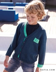 pattern knit crochet kids jacket spring summer katia 6920 9 g Knitting For Kids, Crochet For Kids, Knit Crochet, Knitting Patterns Free, Free Pattern, Summer Kids, Spring Summer, Summer Books, Pullover