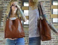 Vintage 90's Large Tan & Brown Leather Seapunk Tote Bag