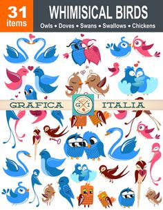 Whimsical Birds Clipart - 31 Bird Images - Digital Download - Owls, Swallows, Doves, Swans and Chickens by graficaitalia