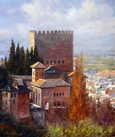 Borgo by giuseppepeppoloni Alhambra Spain, Relaxing Art, Spanish Art, Grenade, European Paintings, Moorish, Art Techniques, Landscape Art, Art Boards