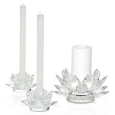 Clearly elegant in both day and evening, these crystal lotus glisten softly in candle light.  #ZGallerie  #Candleholder