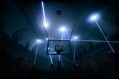 In the 2014 light installation Hyperjump, 25 moving lights projected synchronized beams of light within a cavernous Soviet-era gymnasium housed in a 19th century hall at Saint Petersburg State Univ...